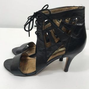 Cynthia Vincent Leather Ankle Tie Heels w/ Bag